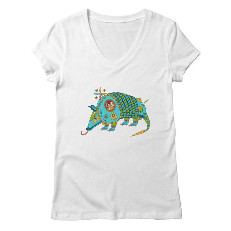 Armadillo, cool art from the AlphaPod Collection Women's Regular V-Neck by AlphaPod