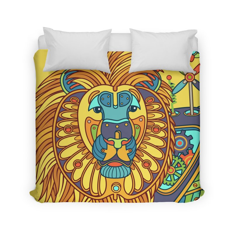 Lion, cool wall art for kids and adults alike Home Duvet by AlphaPod