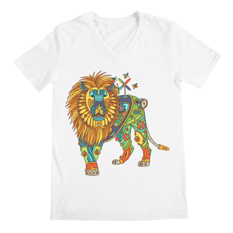 Lion, cool art from the AlphaPod Collection Men's V-Neck by AlphaPod