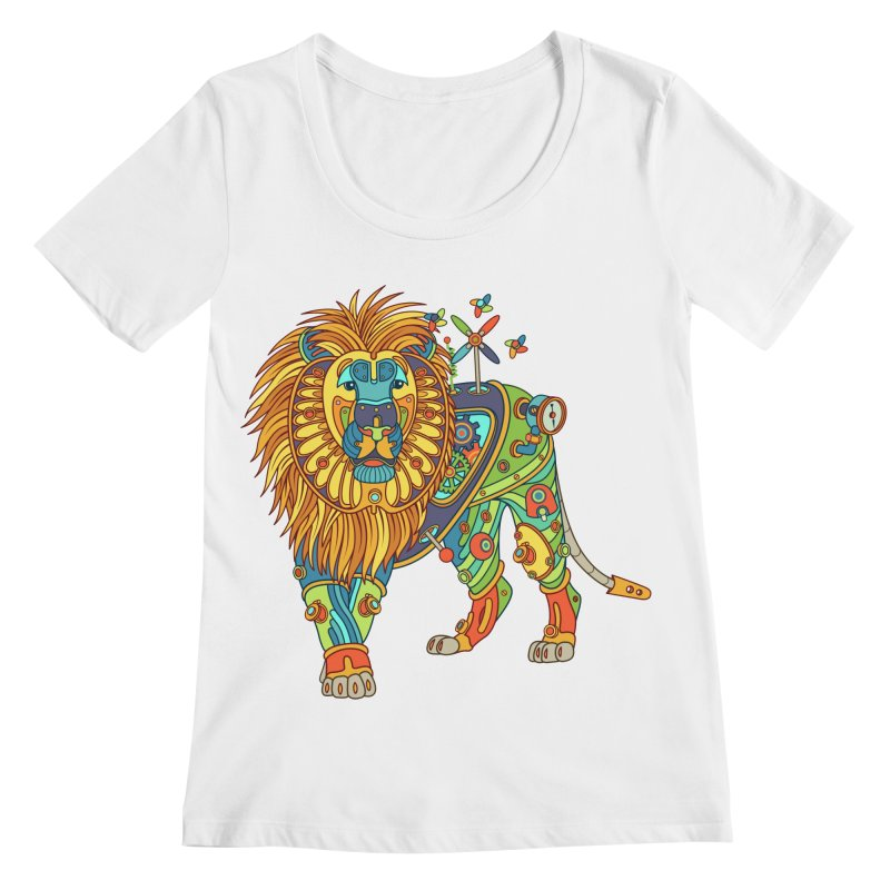 Lion, cool art from the AlphaPod Collection Women's Scoopneck by AlphaPod