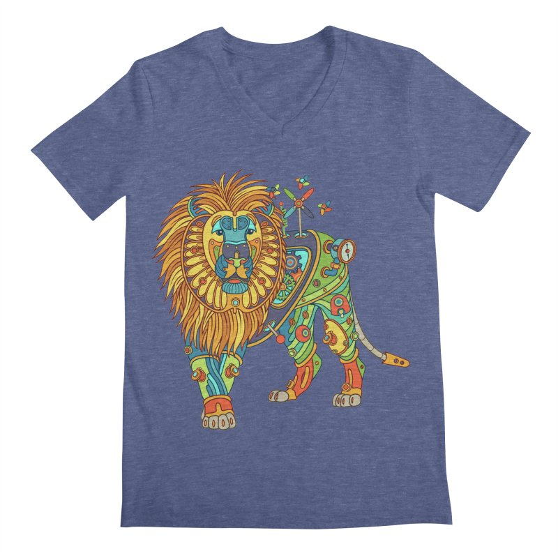 Lion, cool wall art for kids and adults alike Men's V-Neck by AlphaPod