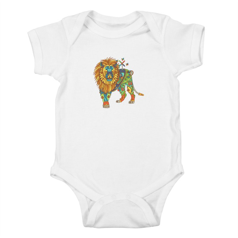 Lion, cool wall art for kids and adults alike Kids Baby Bodysuit by AlphaPod