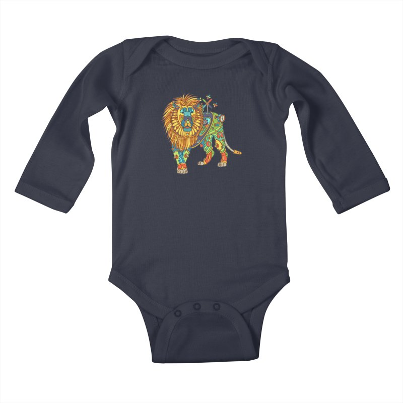 Lion, cool art from the AlphaPod Collection Kids Baby Longsleeve Bodysuit by AlphaPod