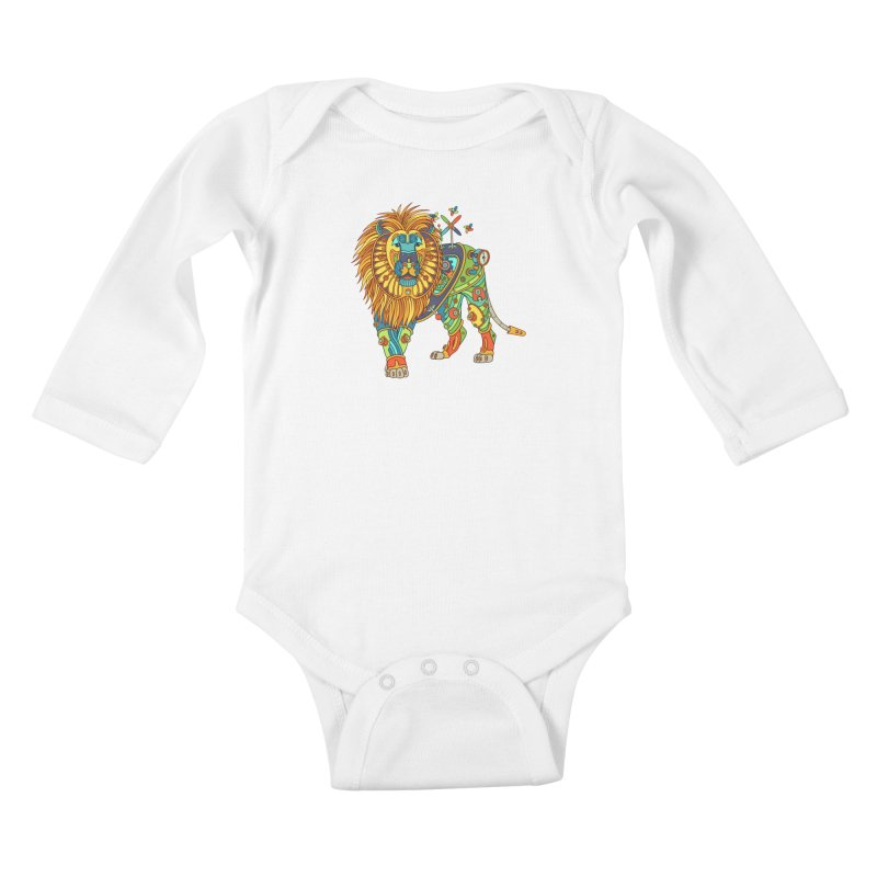 Lion, cool wall art for kids and adults alike Kids Baby Longsleeve Bodysuit by AlphaPod