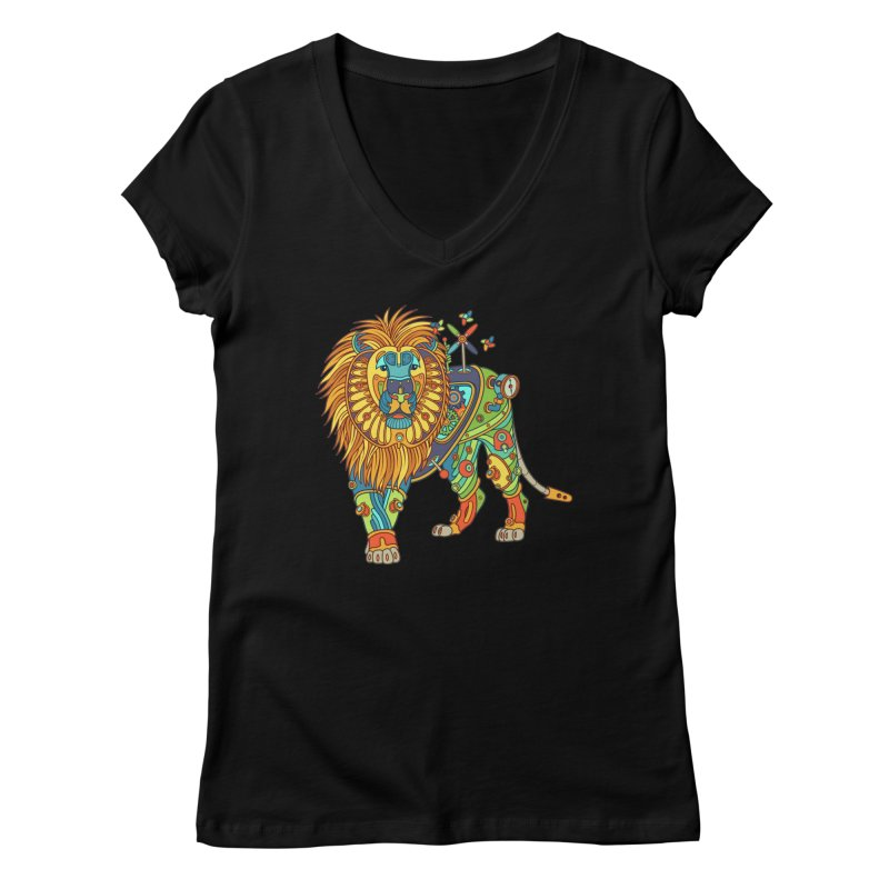 Lion, cool art from the AlphaPod Collection Women's V-Neck by AlphaPod