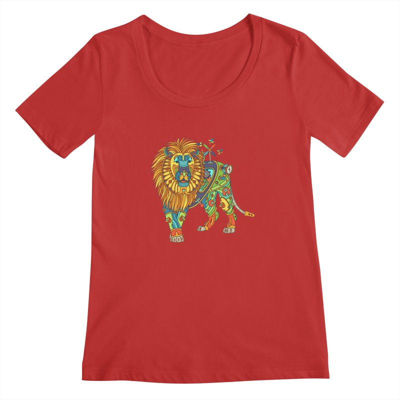 Lion, cool wall art for kids and adults alike Women's Scoopneck by AlphaPod