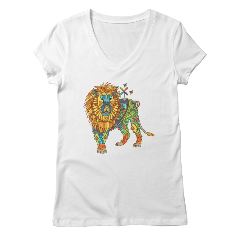 Lion, cool wall art for kids and adults alike Women's V-Neck by AlphaPod