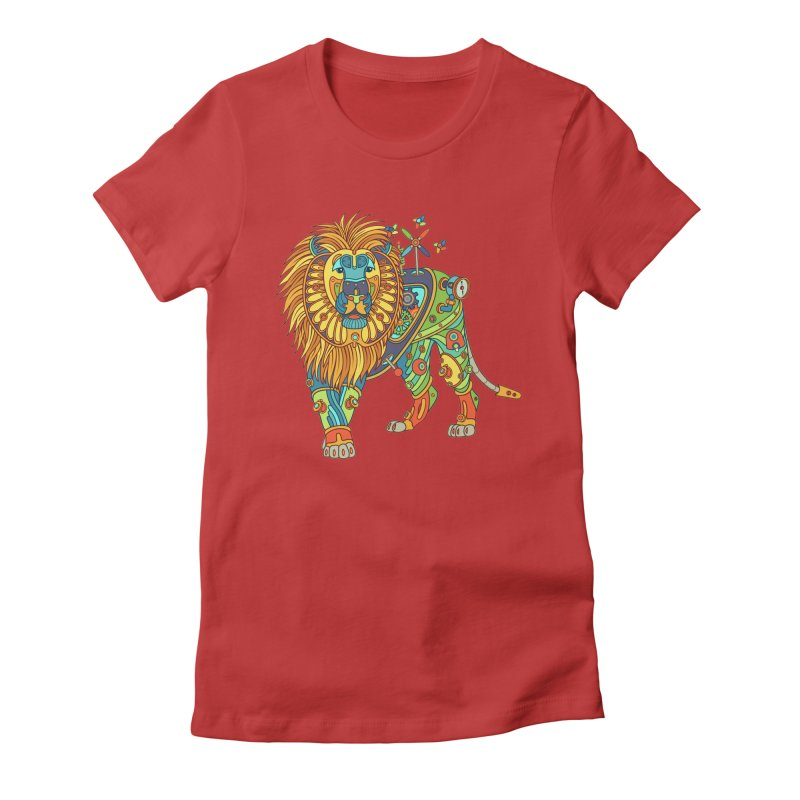 Lion, cool wall art for kids and adults alike Women's Fitted T-Shirt by AlphaPod