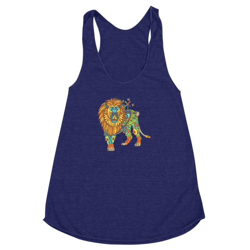 Lion, cool wall art for kids and adults alike Women's Racerback Triblend Tank by AlphaPod