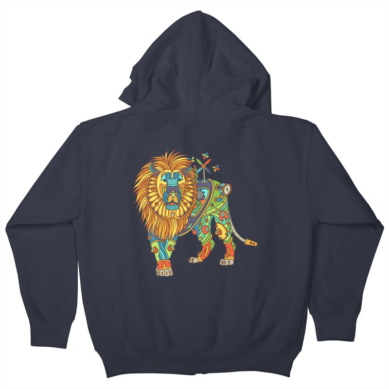 Lion, cool wall art for kids and adults alike Kids Zip-Up Hoody by AlphaPod