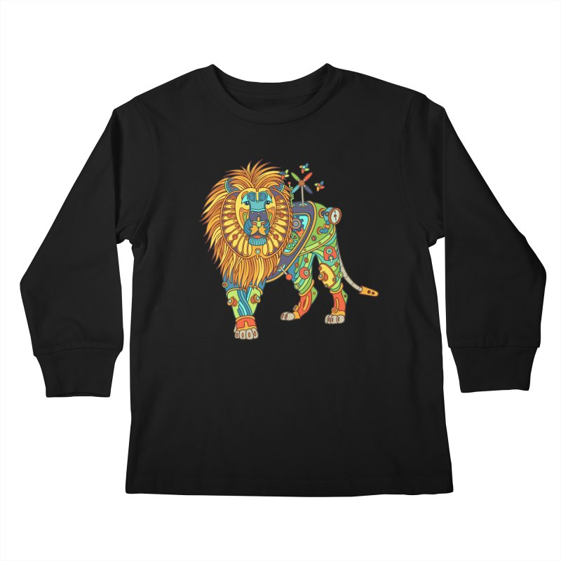 Lion, cool art from the AlphaPod Collection Kids Longsleeve T-Shirt by AlphaPod