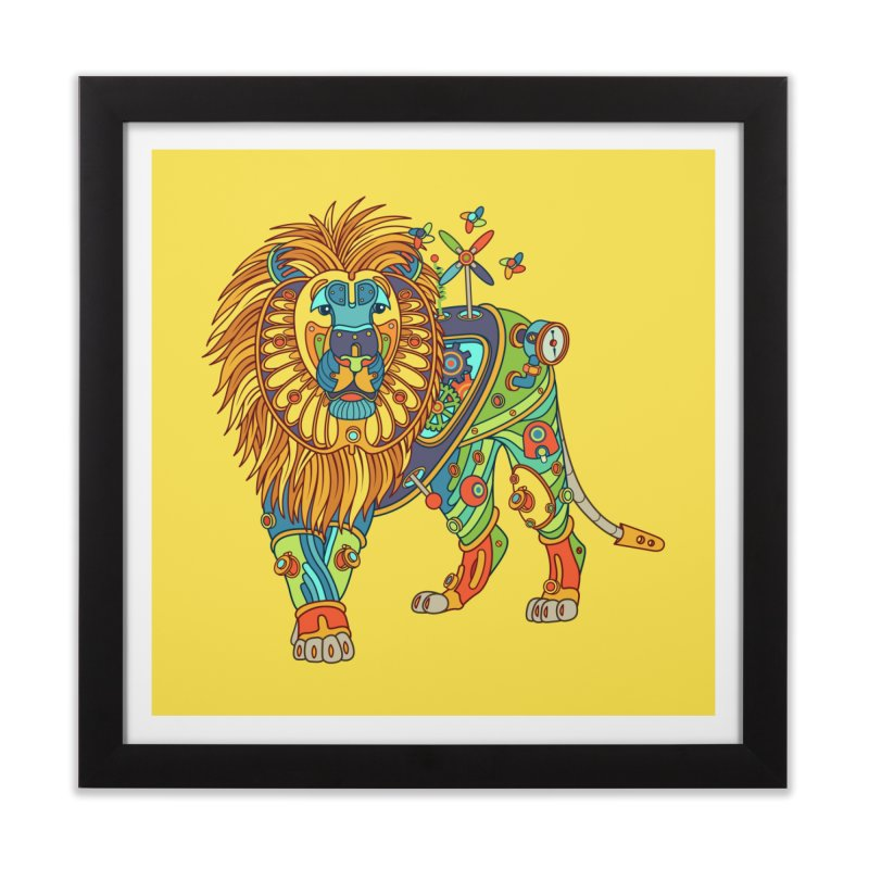 Lion, cool art from the AlphaPod Collection Home Framed Fine Art Print by AlphaPod