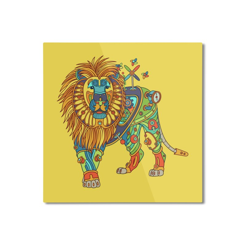 Lion, cool art from the AlphaPod Collection Home Mounted Aluminum Print by AlphaPod