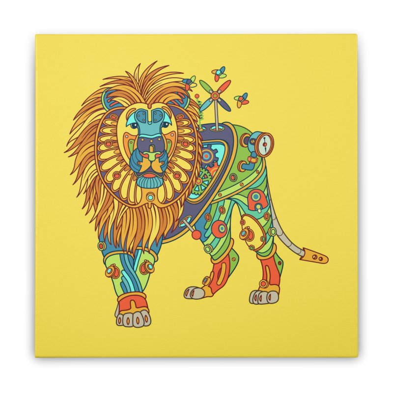 Lion, cool art from the AlphaPod Collection Home Stretched Canvas by AlphaPod