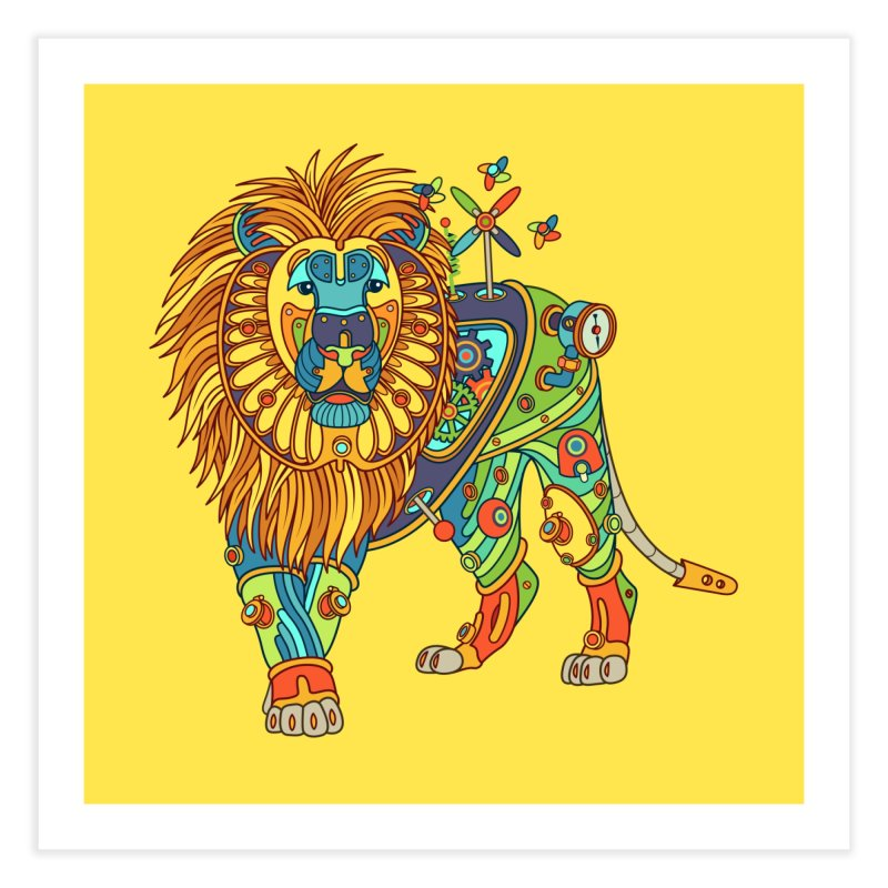 Lion, cool art from the AlphaPod Collection Home Fine Art Print by AlphaPod
