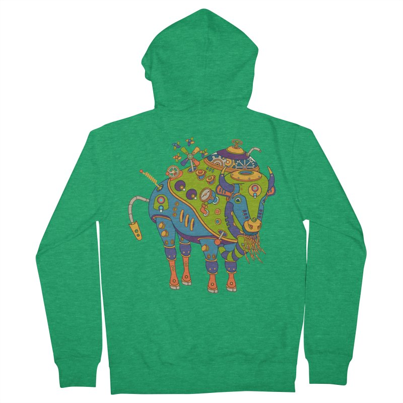 Bison, cool art from the AlphaPod Collection Men's Zip-Up Hoody by AlphaPod