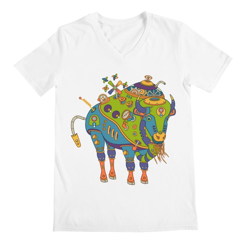 Bison, cool art from the AlphaPod Collection Men's V-Neck by AlphaPod