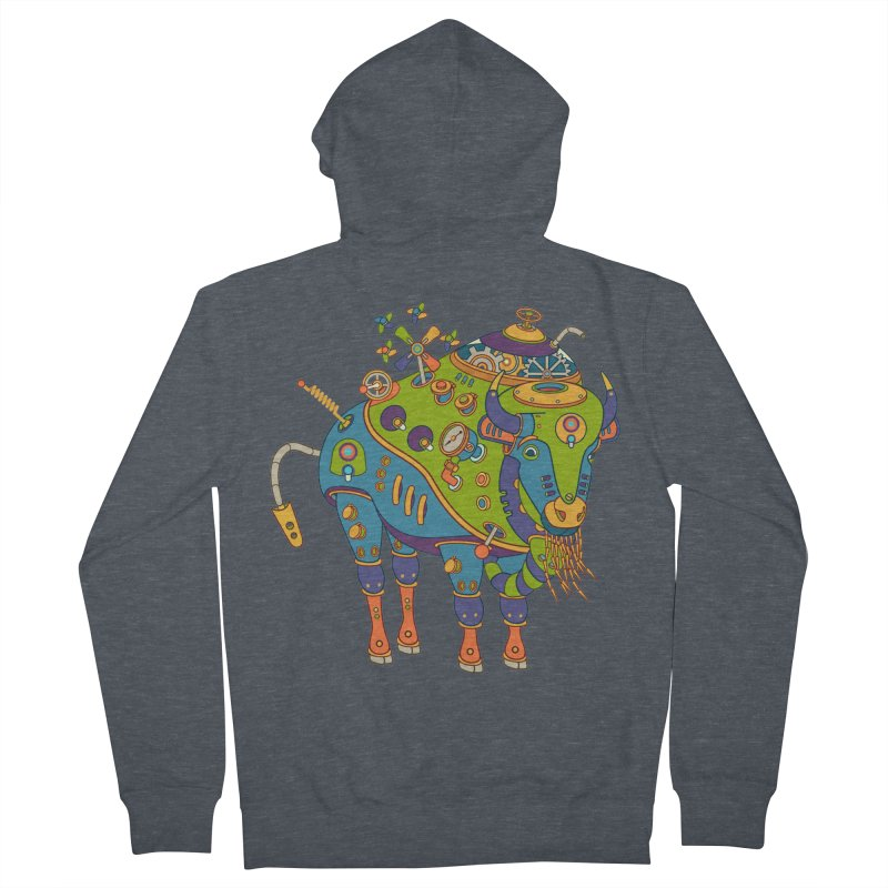 Bison, cool wall art for kids and adults alike Men's Zip-Up Hoody by AlphaPod