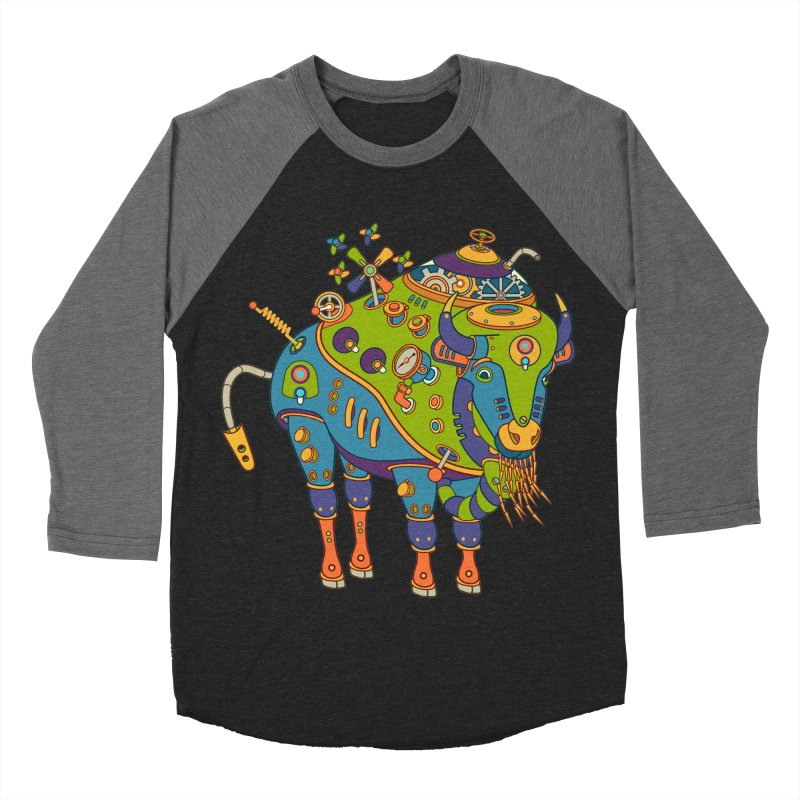 Bison, cool art from the AlphaPod Collection Women's Baseball Triblend T-Shirt by AlphaPod