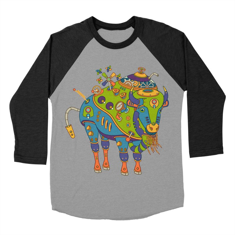 Bison, cool art from the AlphaPod Collection Women's Baseball Triblend Longsleeve T-Shirt by AlphaPod