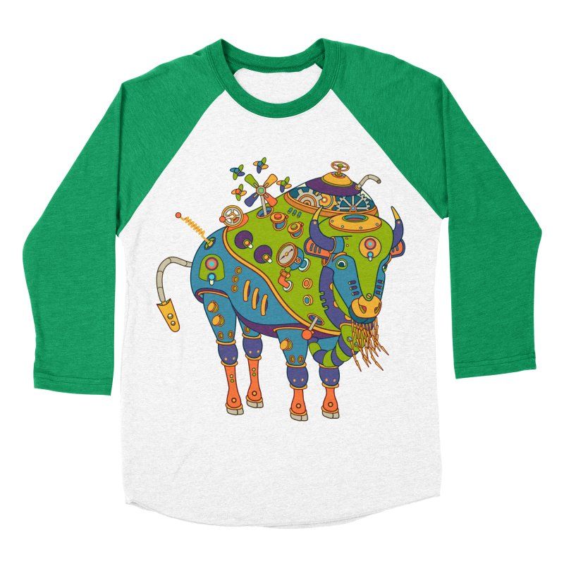 Bison, cool wall art for kids and adults alike Men's Baseball Triblend T-Shirt by AlphaPod