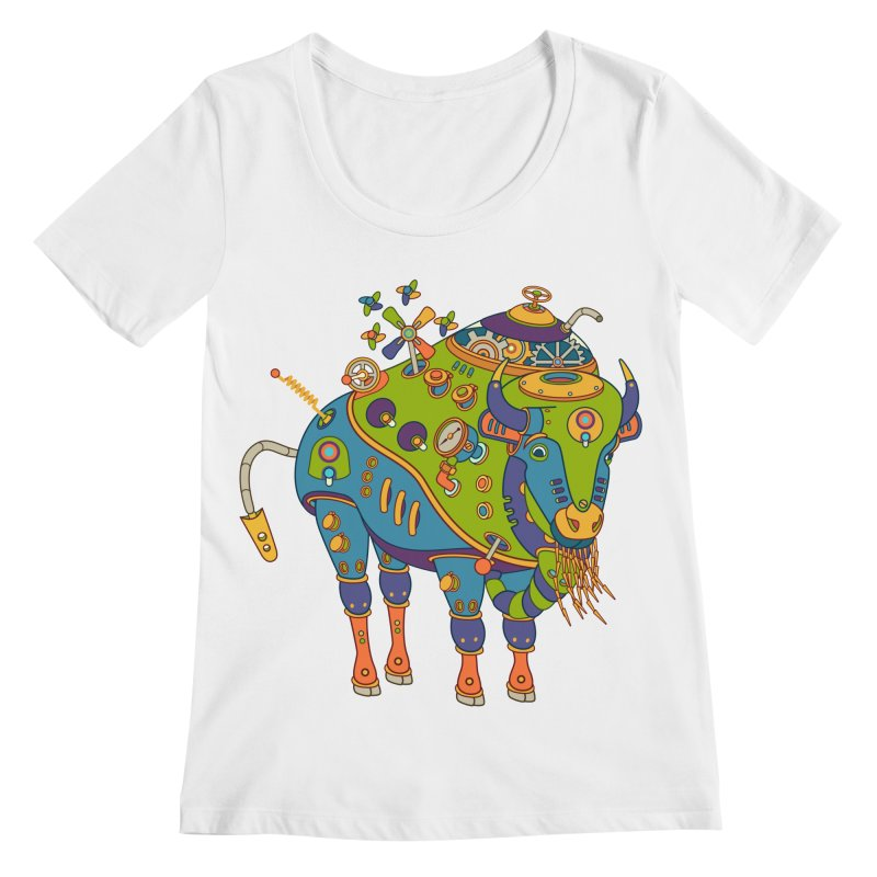 Bison, cool art from the AlphaPod Collection Women's Regular Scoop Neck by AlphaPod