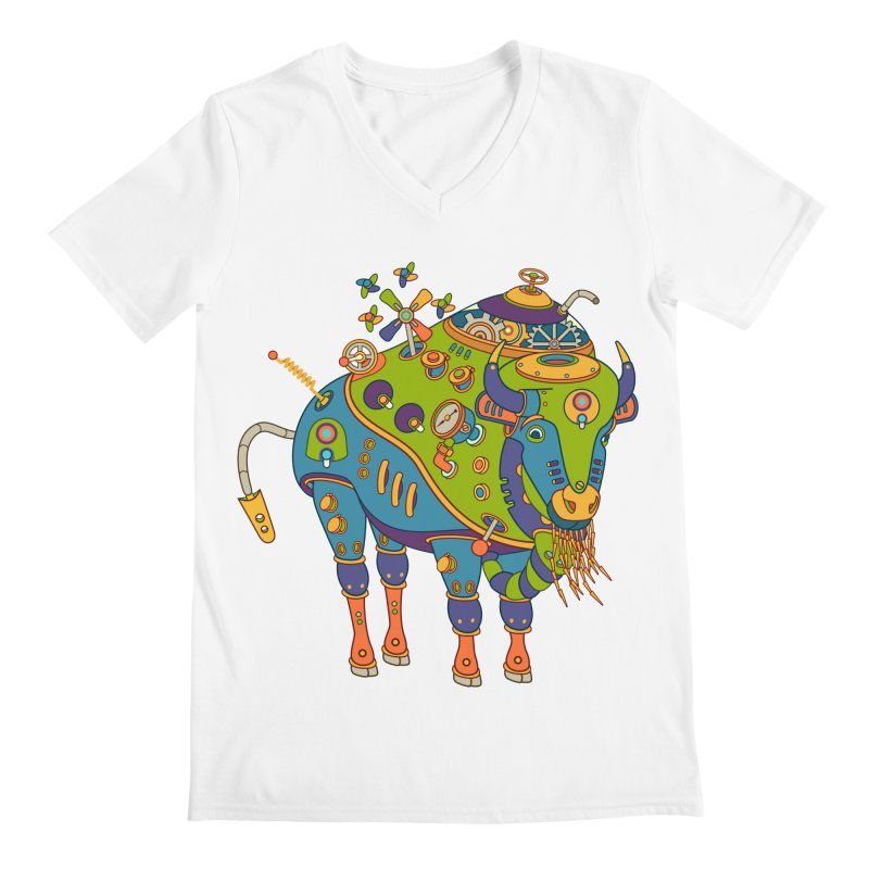 Bison, cool wall art for kids and adults alike Men's V-Neck by AlphaPod