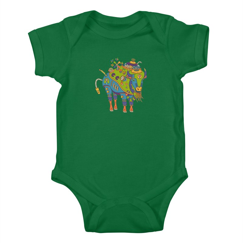 Bison, cool wall art for kids and adults alike Kids Baby Bodysuit by AlphaPod