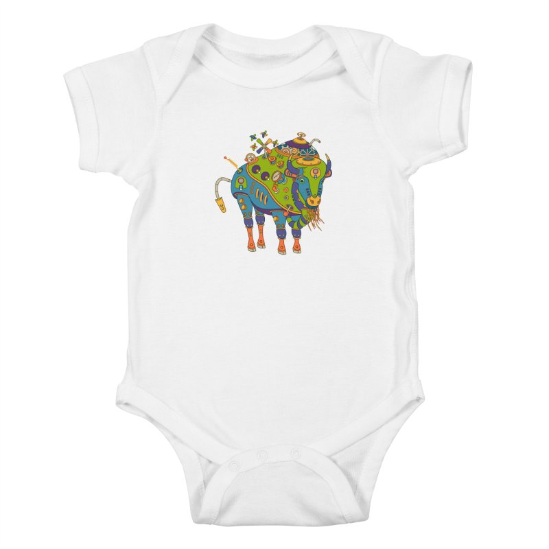 Bison, cool art from the AlphaPod Collection Kids Baby Bodysuit by AlphaPod