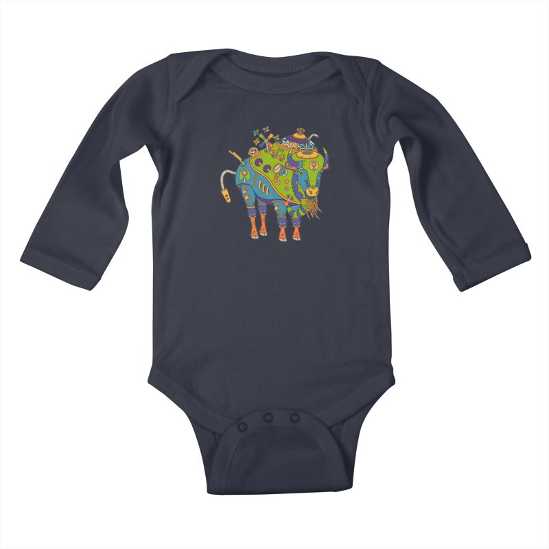 Bison, cool art from the AlphaPod Collection Kids Baby Longsleeve Bodysuit by AlphaPod