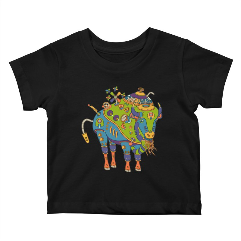 Bison, cool wall art for kids and adults alike Kids Baby T-Shirt by AlphaPod