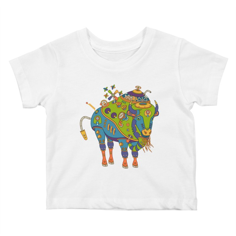 Bison, cool art from the AlphaPod Collection Kids Baby T-Shirt by AlphaPod