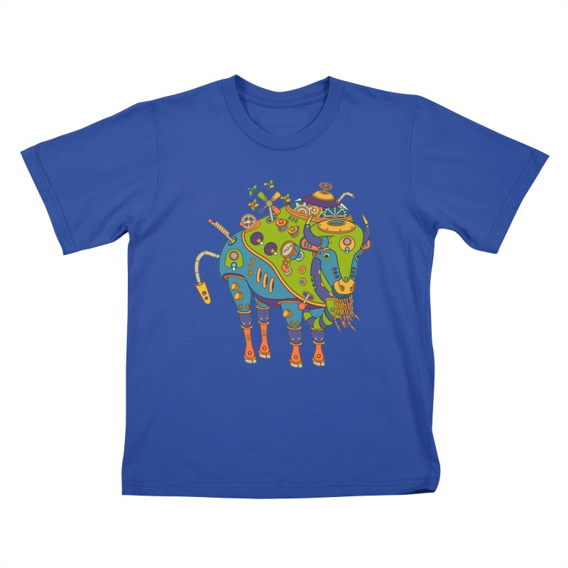 Bison, cool art from the AlphaPod Collection Kids T-Shirt by AlphaPod