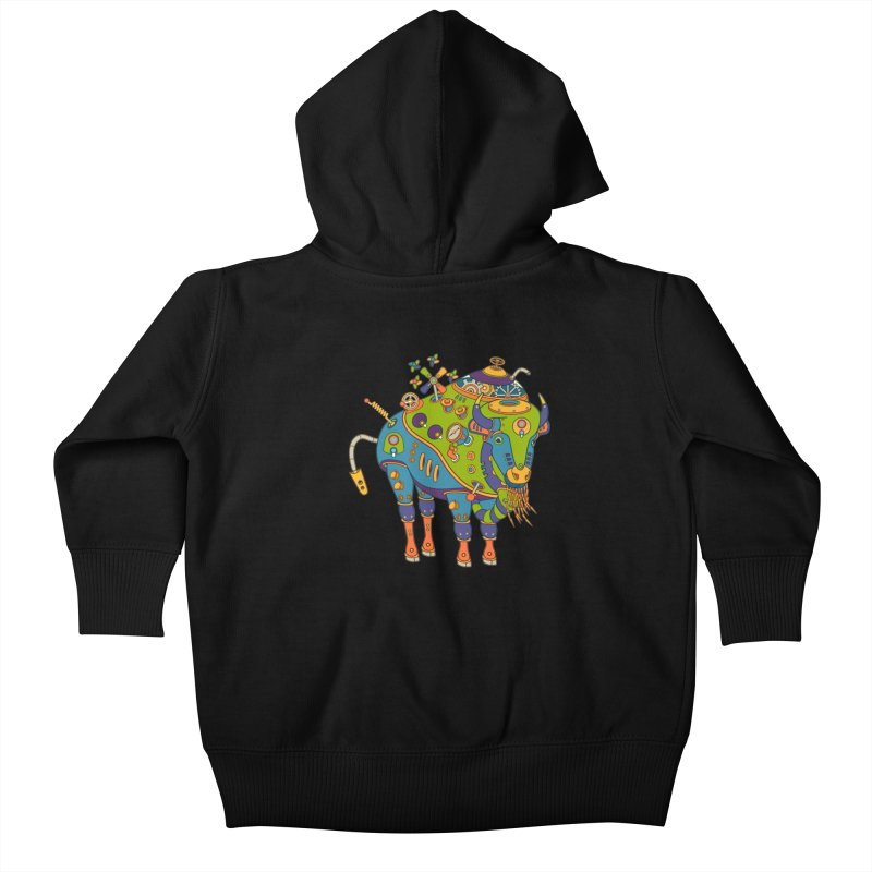 Bison, cool art from the AlphaPod Collection Kids Baby Zip-Up Hoody by AlphaPod