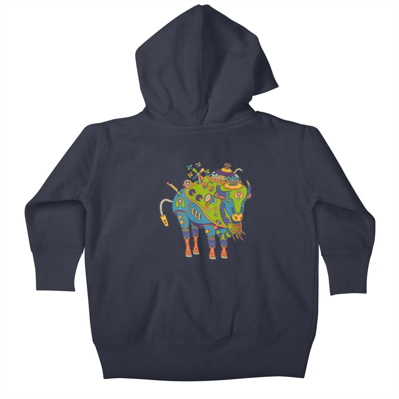 Bison, cool wall art for kids and adults alike Kids Baby Zip-Up Hoody by AlphaPod