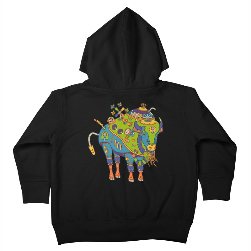 Bison, cool wall art for kids and adults alike Kids Toddler Zip-Up Hoody by AlphaPod