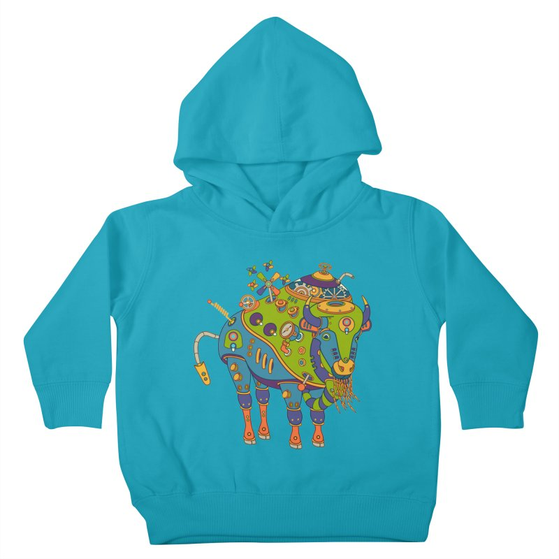Bison, cool wall art for kids and adults alike Kids Toddler Pullover Hoody by AlphaPod
