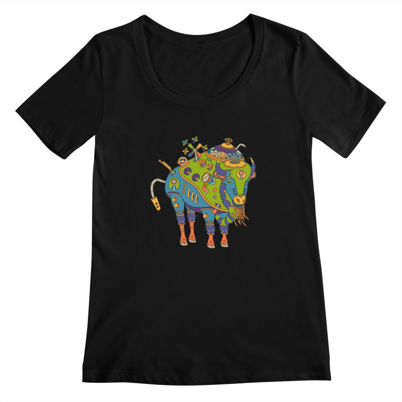 Bison, cool art from the AlphaPod Collection Women's Scoopneck by AlphaPod