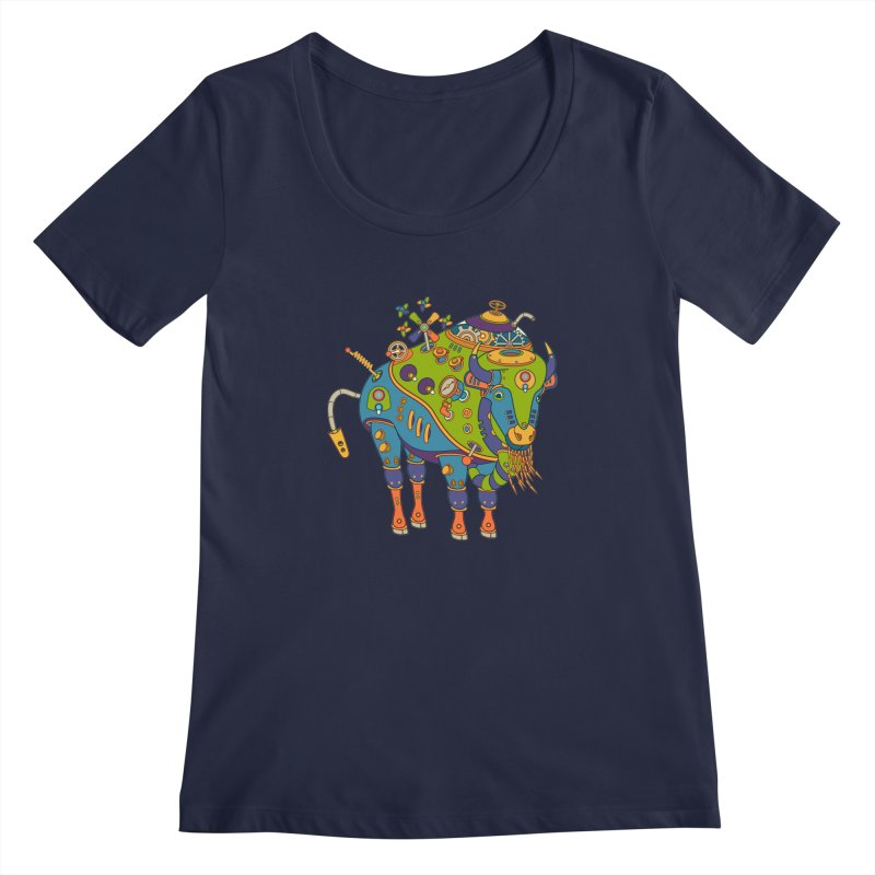 Bison, cool wall art for kids and adults alike Women's Scoopneck by AlphaPod
