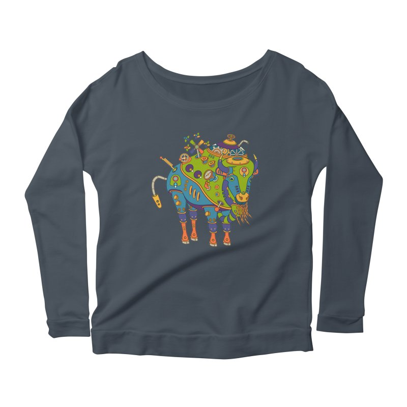 Bison, cool art from the AlphaPod Collection Women's Scoop Neck Longsleeve T-Shirt by AlphaPod