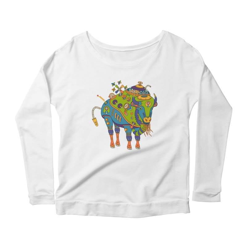 Bison, cool wall art for kids and adults alike Women's Longsleeve Scoopneck  by AlphaPod