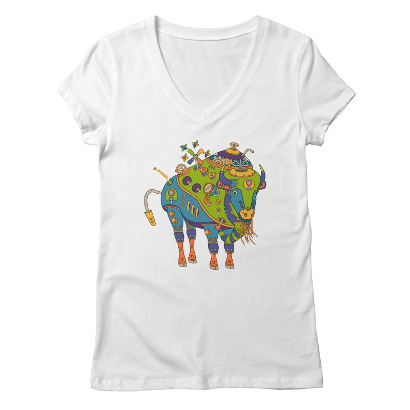 Bison, cool art from the AlphaPod Collection Women's V-Neck by AlphaPod