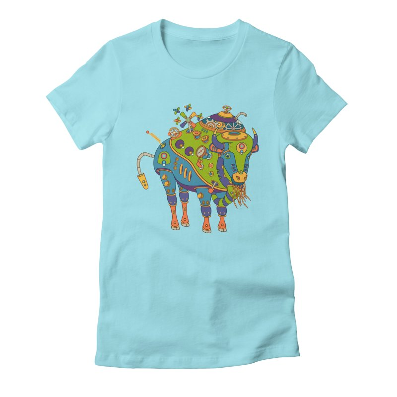 Bison, cool art from the AlphaPod Collection Women's Fitted T-Shirt by AlphaPod