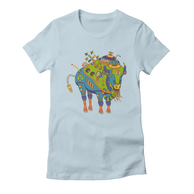 Bison, cool wall art for kids and adults alike Women's Fitted T-Shirt by AlphaPod