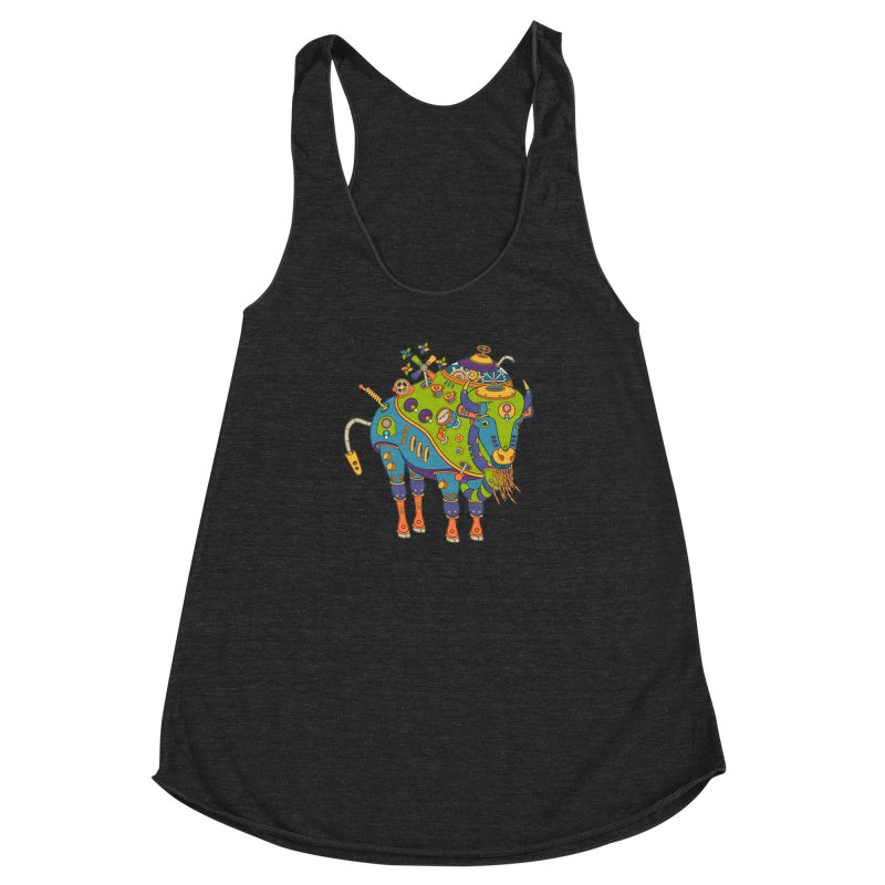 Bison, cool wall art for kids and adults alike Women's Racerback Triblend Tank by AlphaPod