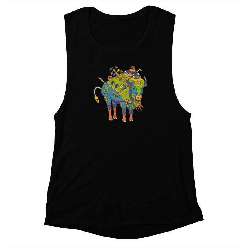 Bison, cool wall art for kids and adults alike Women's Muscle Tank by AlphaPod