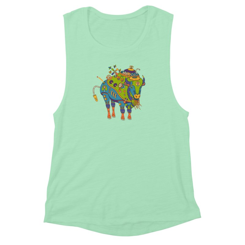 Bison, cool art from the AlphaPod Collection Women's Muscle Tank by AlphaPod