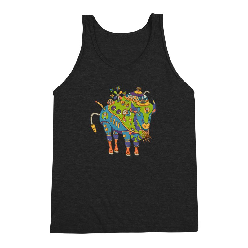 Bison, cool art from the AlphaPod Collection Men's Triblend Tank by AlphaPod