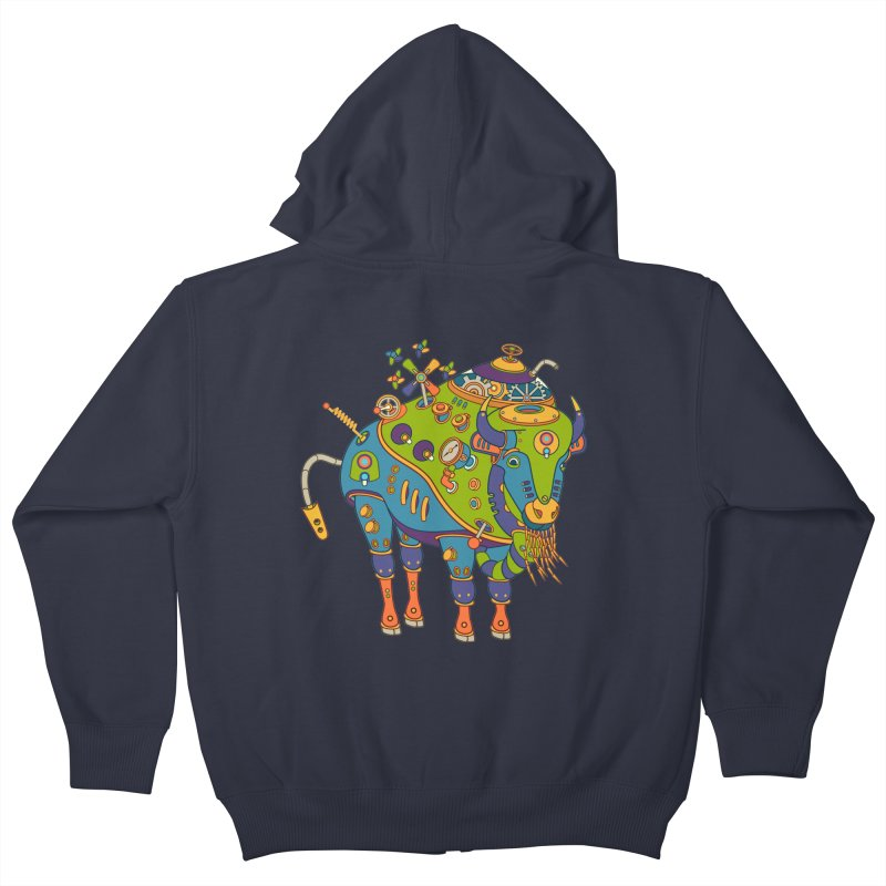 Bison, cool wall art for kids and adults alike Kids Zip-Up Hoody by AlphaPod