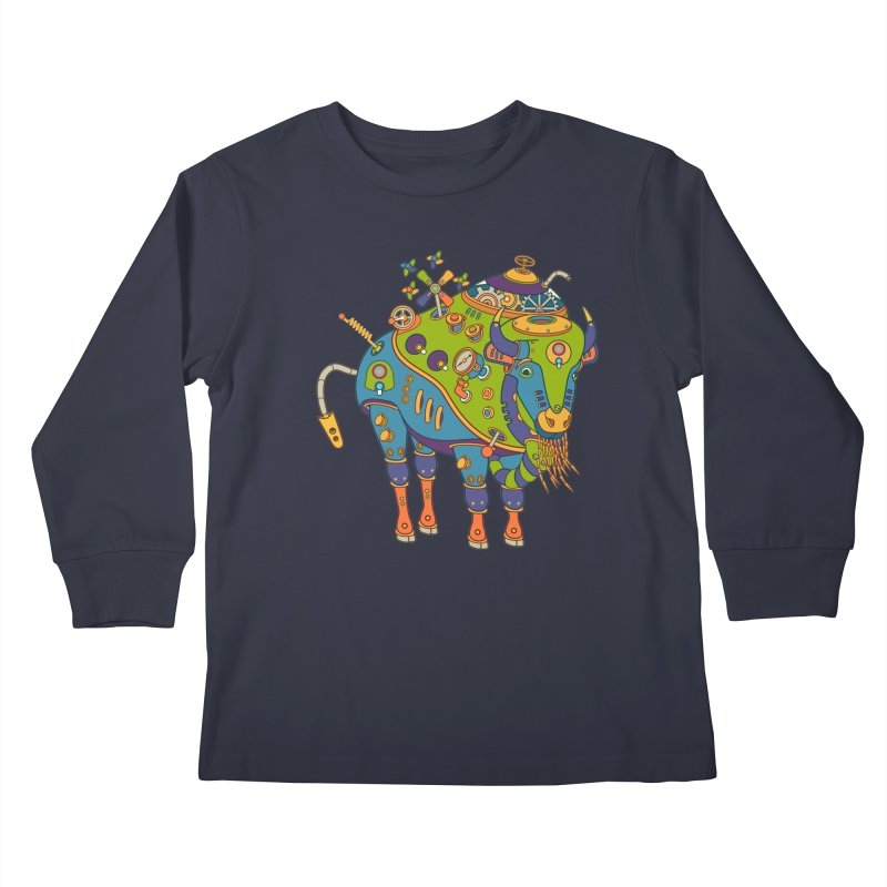 Bison, cool art from the AlphaPod Collection Kids Longsleeve T-Shirt by AlphaPod